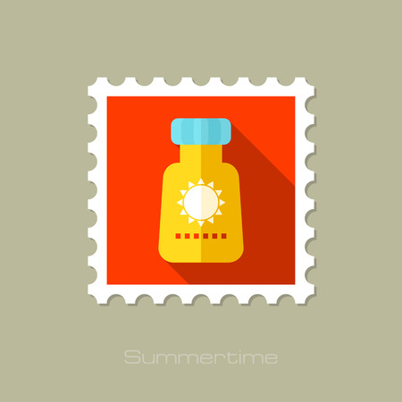 bloqueador solar: Sunscreen flat stamp with long shadow, eps 10