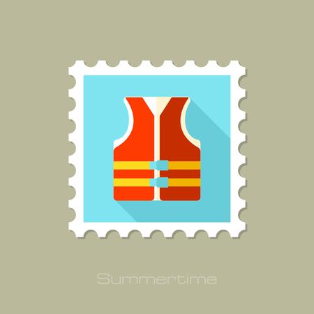life jacket: Life jacket flat stamp with long shadow, eps 10