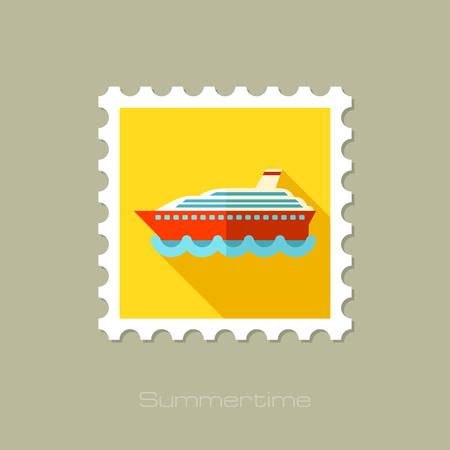 cruiser: Cruise transatlantic liner flat stamp with long shadow, eps 10 Illustration