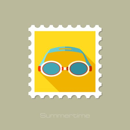 swimming goggles: Swimming Goggles flat stamp with long shadow, eps 10