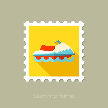 jet ski: Jet Ski flat stamp with long shadow, eps 10 Illustration
