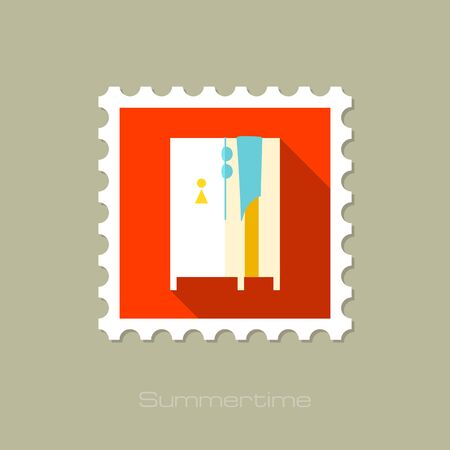 cloakroom: Cloakroom on the beach flat stamp with long shadow, eps 10 Illustration