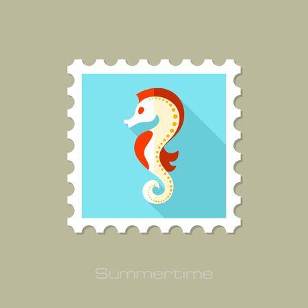caballo de mar: Sea Horse sello plana con larga sombra, eps 10 Vectores