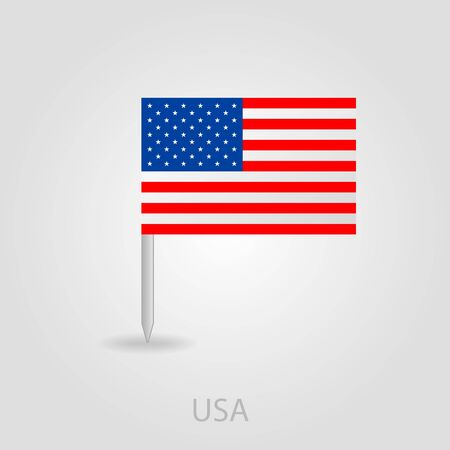 flag pin: United States of America flag pin map icon eps 10