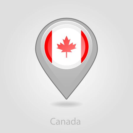 flag pin: Canada flag pin map icon, isolated vector illustration eps 10