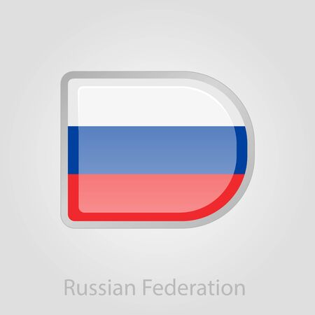 russian flag: Russian flag button, isolated vector illustration eps 10