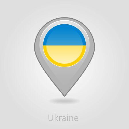 flag pin: Ukraine flag pin map icon, isolated vector illustration eps 10