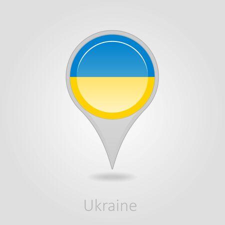 ukraine flag: Ukraine flag pin map icon, isolated vector illustration eps 10