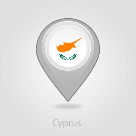 flag pin: Cyprus flag pin map icon, isolated vector illustration eps 10