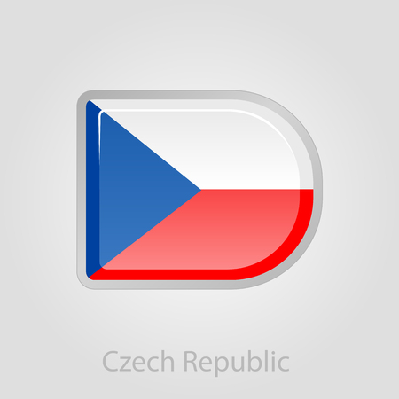 czech republic flag: Czech Republic flag button, isolated vector illustration eps 10