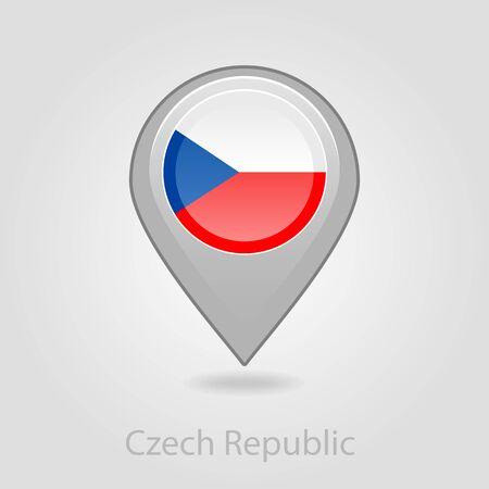czech republic flag: Czech Republic flag pin map icon, isolated vector illustration eps 10