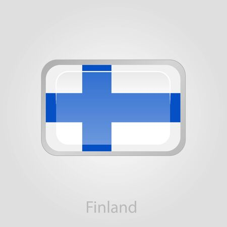 FINLAND flag: Finland flag button, isolated vector illustration eps 10