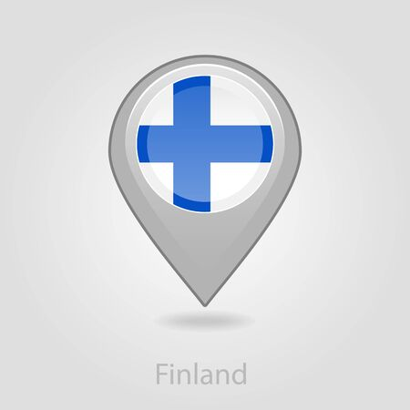 flag pin: Finland flag pin map icon, isolated vector illustration eps 10