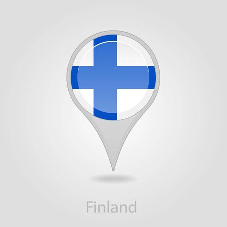 finland flag: Finland flag pin map icon, isolated vector illustration eps 10