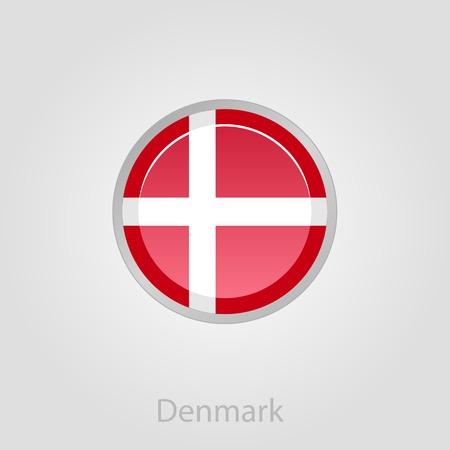 denmark flag: Denmark flag button, isolated vector illustration eps 10
