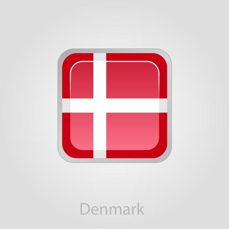 danish flag: Denmark flag button, isolated vector illustration eps 10
