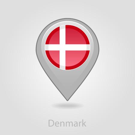 scandinavia: Denmark flag pin map icon, isolated vector illustration eps 10 Illustration