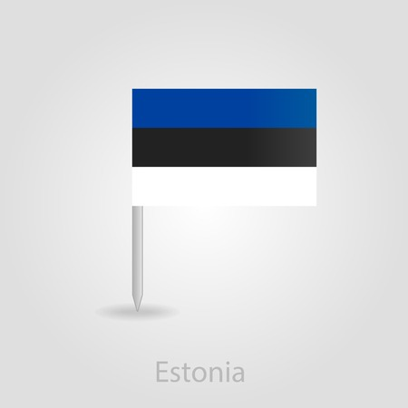 estonian: Estonian flag pin map icon, isolated vector illustration eps 10