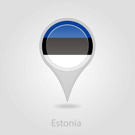 flag pin: Estonian flag pin map icon, isolated vector illustration eps 10