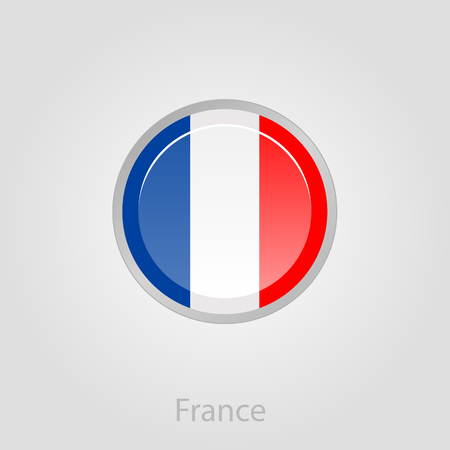 spangled: France flag button, isolated vector illustration eps 10