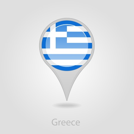 flag pin: Greece flag pin map icon, isolated vector illustration eps 10 Illustration