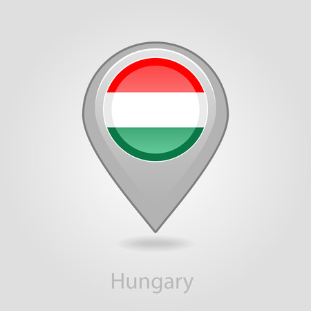 flag pin: Hungary flag pin map icon, isolated vector illustration eps 10