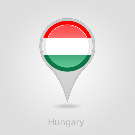 hungarian pointer: Hungary flag pin map icon, isolated vector illustration eps 10