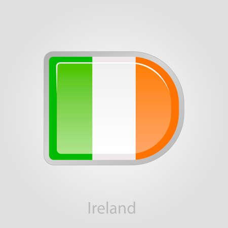 ireland flag: Ireland flag button, isolated vector illustration eps 10