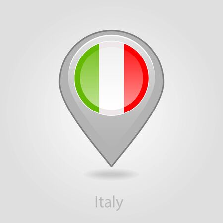 flag pin: Italy flag pin map icon, isolated vector illustration eps 10