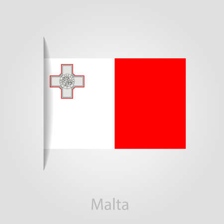 malta: Vlag van Malta, geïsoleerde vector illustratie eps 10 Stock Illustratie