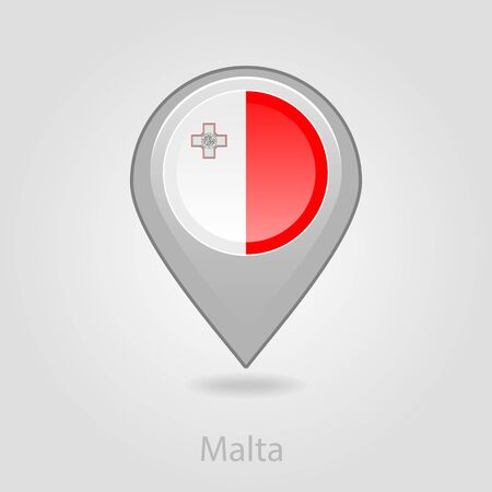 malta map: Malta flag pin map icon, isolated vector illustration eps 10