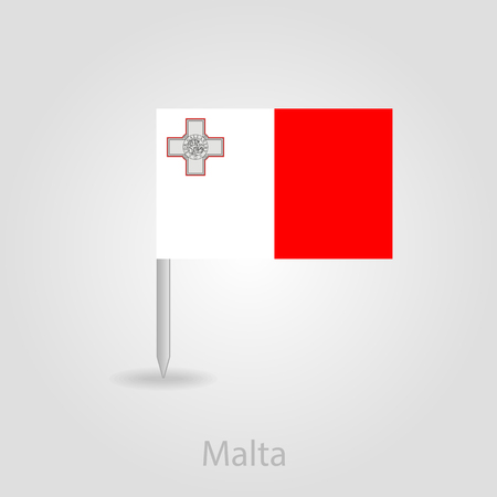 maltese map: Malta flag pin map icon, isolated vector illustration eps 10