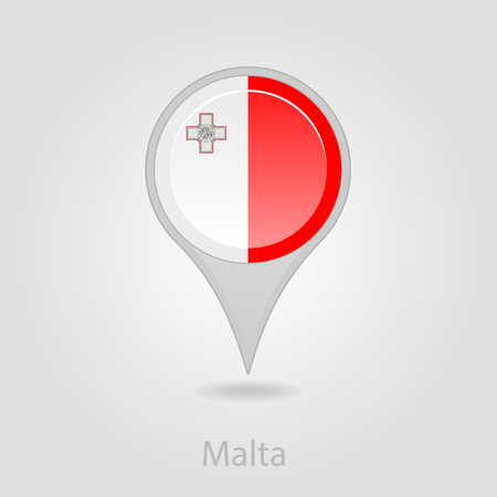 malta: Malta flag pin map icon, isolated vector illustration eps 10