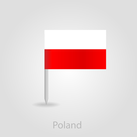 poland flag: Poland flag pin map icon, isolated vector illustration eps 10 Illustration