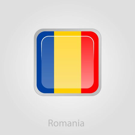 romanian: Romanian flag button, isolated vector illustration eps 10
