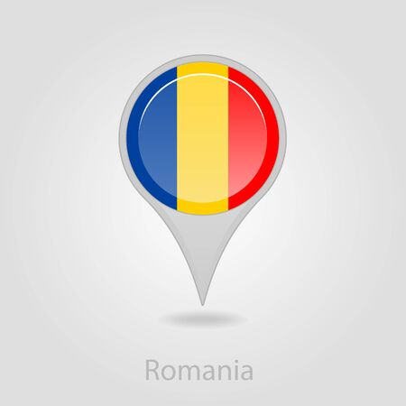 romanian: Romanian flag pin map icon, isolated vector illustration eps 10 Illustration