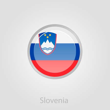 patriots: Slovenian flag button, isolated vector illustration eps 10