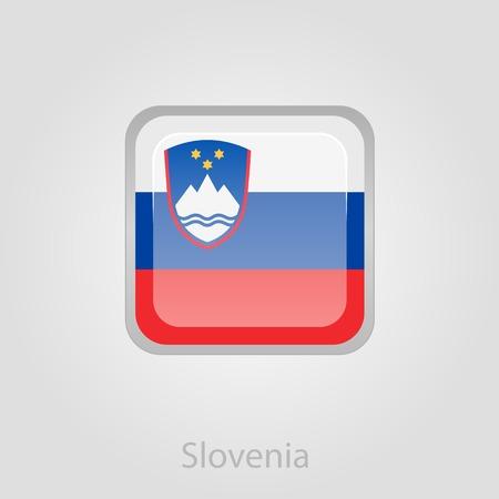slovenian: Slovenian flag button, isolated vector illustration eps 10