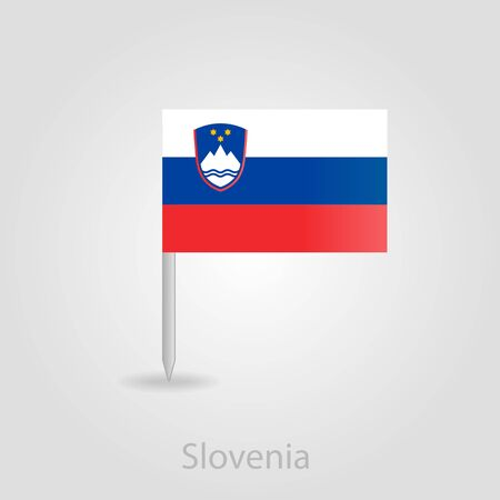 slovenian: Slovenian flag pin map icon, isolated vector illustration eps 10