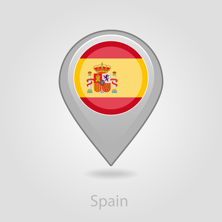 spanish flag: Spanish flag pin map icon, isolated vector illustration eps 10