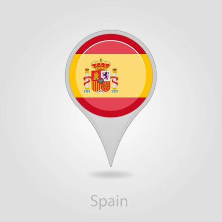flag pin: Spanish flag pin map icon, isolated vector illustration eps 10