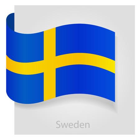 bandera suecia: El indicador de Suecia, aislado ilustraci�n vectorial eps 10