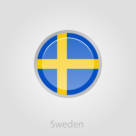 scandinavia: Sweden flag button, isolated vector illustration eps 10