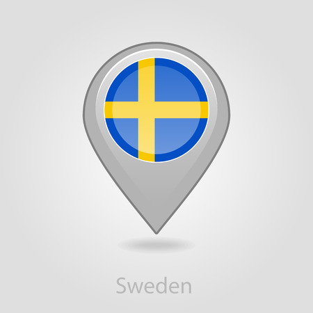 flag pin: Sweden flag pin map icon, isolated vector illustration eps 10