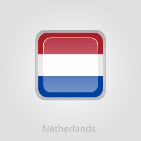 Netherlands flag button, isolated vector illustration eps 10