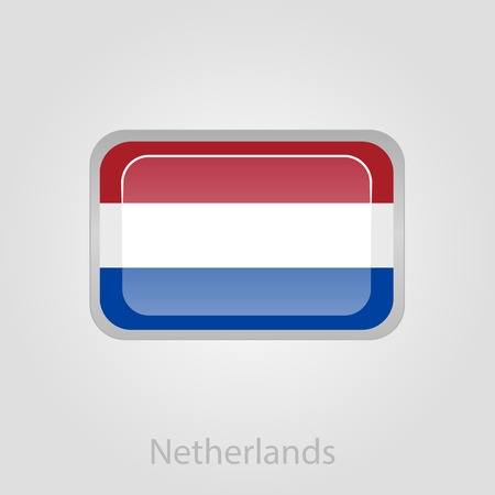 netherlandish: Netherlands flag button, isolated vector illustration eps 10