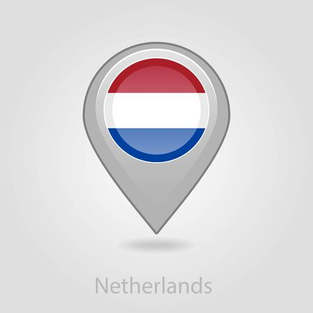 Netherlands flag pin map icon, isolated vector illustration eps 10 Illustration