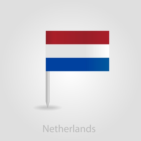 netherlandish: Netherlands flag pin map icon, isolated vector illustration eps 10 Illustration