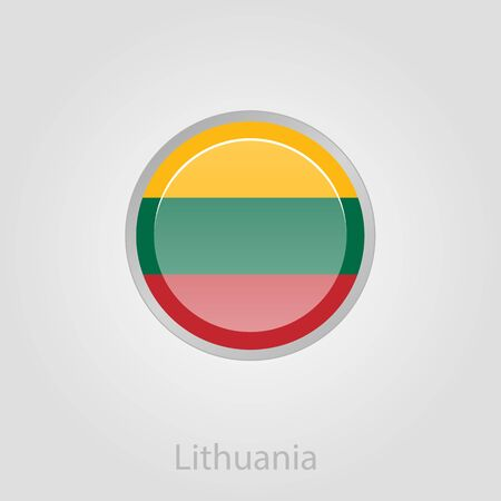 baltic: Lithuanian flag button, isolated vector illustration eps 10