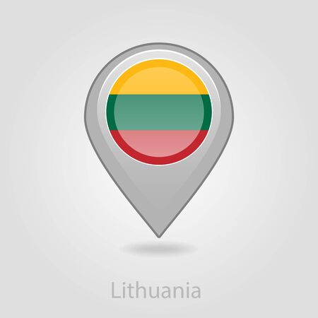 flag pin: Lithuanian flag pin map icon, isolated vector illustration eps 10